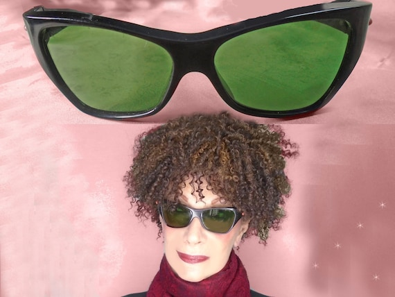 2b30be7d24 50s Vintage Cateye Sunglasses Cool Rockabilly Cateyes Black