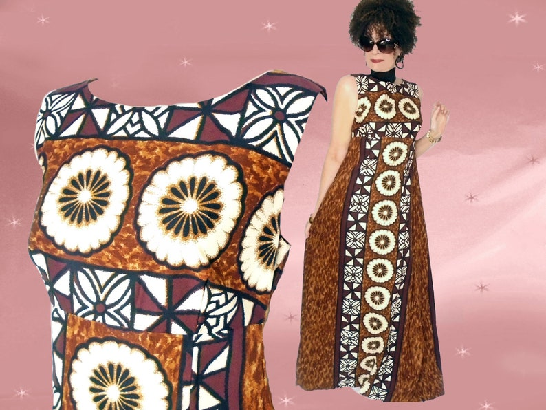 634cf502384 Vintage Hawaiian Dress 70s Brown Tiki Print Maxi Elegant
