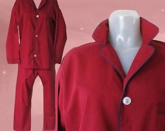 Mens Vintage Pajama Set, Man Tailored Pajamas, Burgundy PJs, 44 Chest