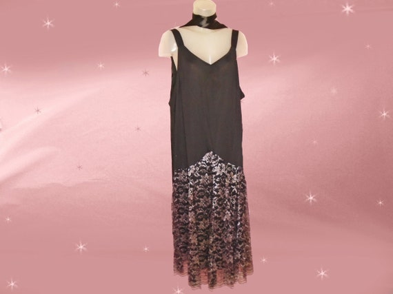Plus Size Vintage Flapper Style Dress XL Black Gatsby Look Formal 80s does  20s Dropped Waist Midi with Silver Lace Skirt