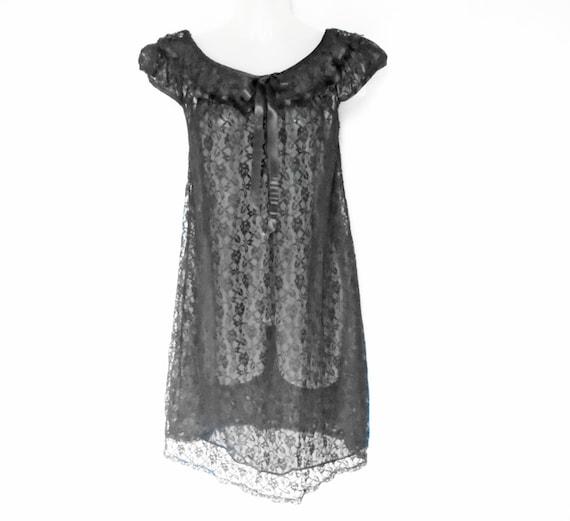 50s Vintage Sheer Black Nightgown See Through Lingerie
