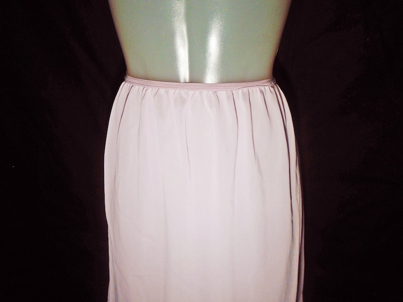 Medium Womens Vintage Lingerie 50s Pink Half Slip Frilly Nylon Tricot with Embroidered Pastel Floral