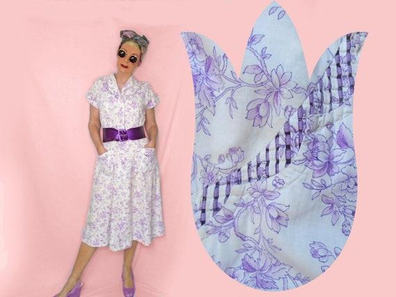 a2265a66d93 40s Vintage Cotton House Dress Rhinestone Buttons Purple