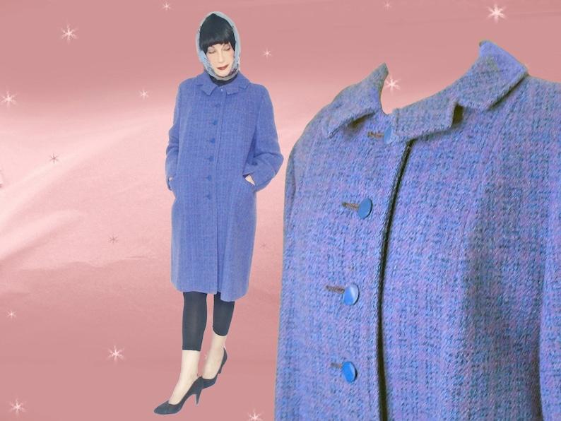 7a1cc45a4eee Vintage Harris Tweed Coat Cute Retro Early 60s Blue Lavender