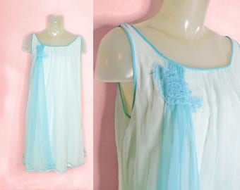 Vintage Chiffon Nightgown, Sissy Lingerie, Nylon Tricot Pastel Mid Length Baby Doll, Large Womens Lingerie, 42 Bust, 60s Full Cut Nightie
