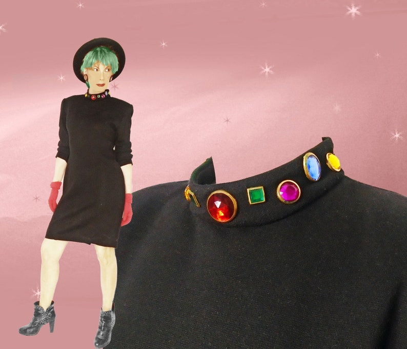 0f58cf1ac909 80s Vintage Little Black Dress Jeweled Short Bodycon Long