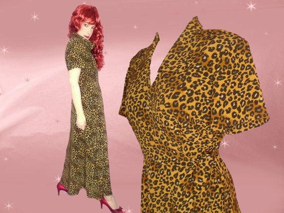 9ee1b46262 80s Vintage Leopard Dressing Gown Animal Print Lounge Maxi