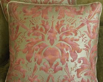 Mariano Fortuny Metallic Cotton Fabric Custom Designer Throw Pillows Lucrezia Bittersweet Set of 2