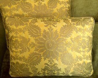 Mariano Fortuny Fabric Custom Designer Throw Pillows Yellow Gold Metallic Impero Set of 2