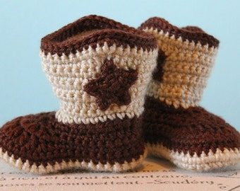 Cowboy Boots Crochet Baby Booties - CUSTOM OPTIONS AVAILABLE