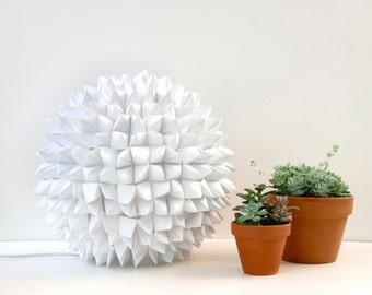 Small Apthorp Table Light - White Faceted Folded Paper Lamp