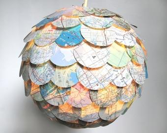 The Manhasset Road Map Pendant Light - Hanging Paper Artichoke Lantern - Shade Only