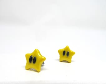 Super Mario Stars Earrings, Super Mario star studs, mario stars, super star, super mario brothers, gamer earrings, super mario stud earrings