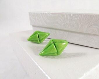 The Sims Plumbob diamond Jewelry Green Sims diamond jewelry The Sims 4 stud earrings Green plumbob diamond studs gamer gift