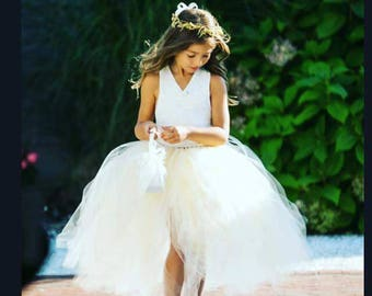 Flower Tutu Dress YOU CHOOSE COLORS Lace Corsett Back