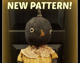 Priscilla the Pumpkin PATTERN - Primitive Pumpkin pattern, pumpkin doll pattern, fall doll pattern, prim fall doll pattern