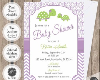 Sea Turtle Baby Shower Invitation Girl Sea Turtle Invitation Etsy