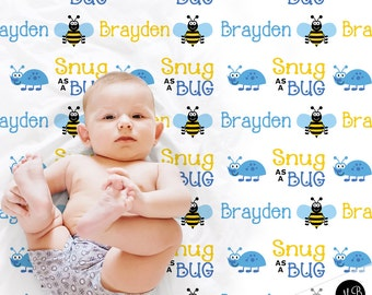 Snug as a Bug - Boy Bug Theme Name Blanket photo prop blanket- personalized  baby gift- personalized blanket- choose colors d270ff233