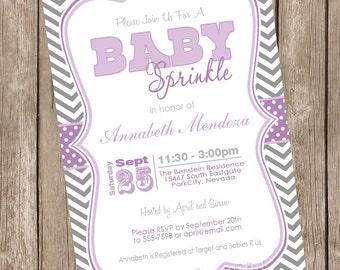 Sprinkle Baby Shower Invitation Purple And Green Chevron Etsy