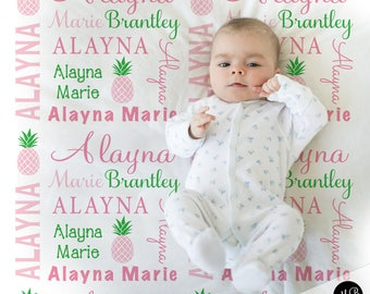 7a918dba0b5 Pineapple Name Blanket in pink and green for Baby Girl- personalized baby  gift- blanket- baby blanket- personalized blanket- choose colors