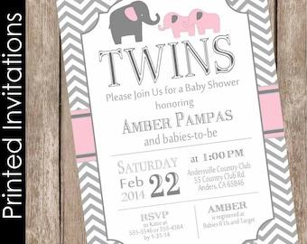 Printed Elephant Twin Girl Baby Shower Invitation Twins Pink Gray Chevron TypographyFREE ENVELOPES