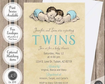 Twins baby shower invitation twins double trouble baby etsy twin boys invitation vintage baby shower twins invitation boy baby shower invitation twins invitation shabby chic vintage illustration filmwisefo