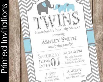 Printed Twin Elephant Boys Baby Shower Invitation Blue And Gray Chevron FREE ENVELOPES