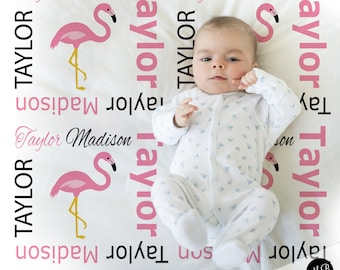 f31bde88a1 Pink flamingo baby blanket- baby girl personalized baby gift- flamingo name  blanket- baby blanket- personalized blanket- choose colors