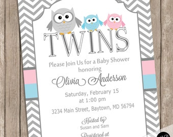 Twin owl baby shower etsy twins owl baby shower invitation pink and blue owls chevron baby shower invite with baby owl theme for boy and girl twins otpb filmwisefo