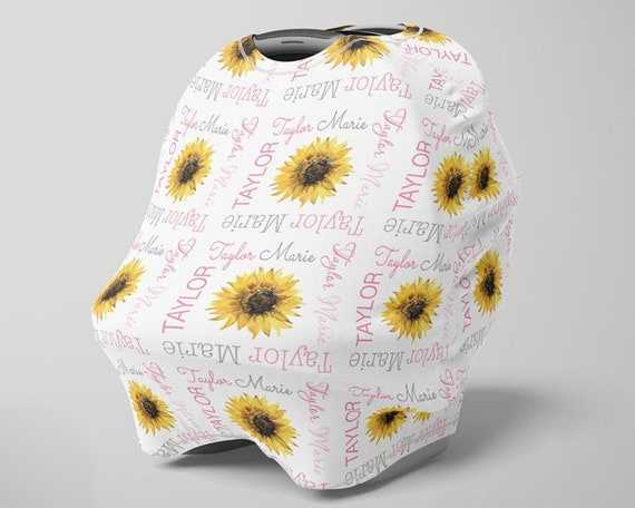 Sunflower Car Seat Canopy Cover Girl Custom Sunflower Infant Seat