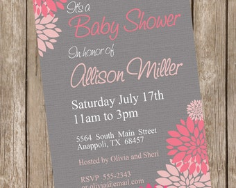 Girl Baby Shower Invitation, flower, pink and gray, pink and grey, flower baby shower invitation, printable, digital