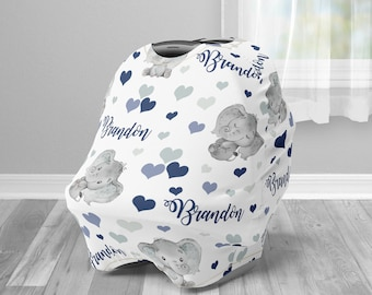 Baby boy elephant Personalized baby name carseat cover, infant car seat cover, navy, elephant car seat canopy cover, boy, nursing privacy