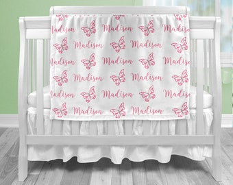 Baby girl butterfly name blanket, butterfly baby blanket, boy or girl, personalized baby gift, custom name blanket, butterfly baby gift