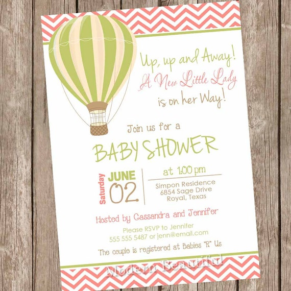 Hot Air Balloon Baby Shower Invitation Up Up And Away A New Etsy