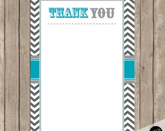 Thank You Note Card in Teal and Gray, thank you notecard, Thank You Note -  4x6 Flat Thank You Note Cards-  INSTANT DOWNLOAD bbq1