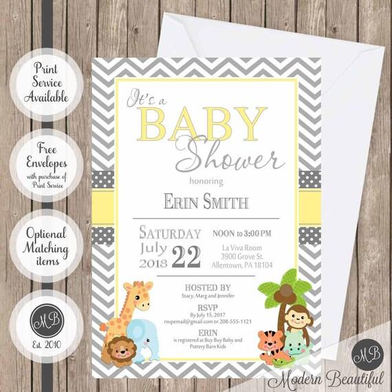 Yellow And Gray Baby Shower Invitation Safari Baby Shower