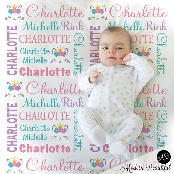 c1a7e30561cb Baby kitty name blanket- personalized kitty cat gift- kitten lashes blanket-  kitten baby blanket- personalized blanket- choose color