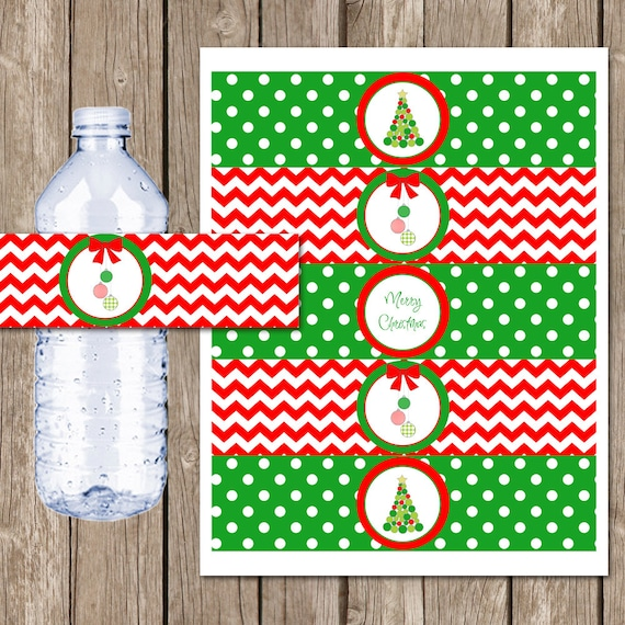 Merry Christmas Water Bottle Labels Christmas Party Etsy