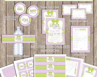 Green and purple girls baby shower invitation party package, chevron invitation, green, purple, printable (PARTIAL INSTANT DOWNLOAD) - ll1