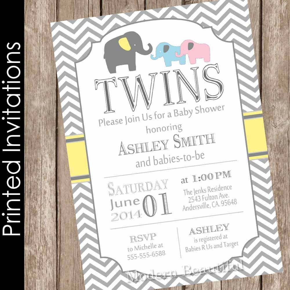 Printed Elephant Twins Baby Shower Invitation twin girl twin