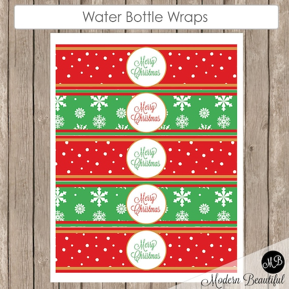 Christmas Water Bottle Labels Printable Red Snowflake And Green