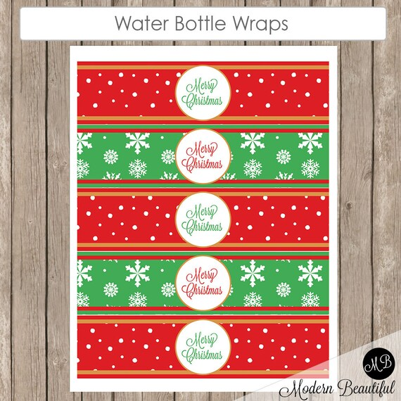 Christmas Water Bottle Labels- Printable Red Snowflake And