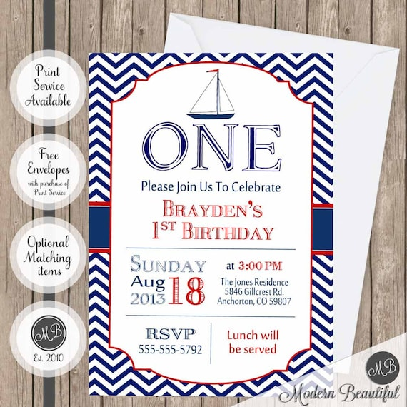 Chevron Nautical Birthday Invitation Anchor Boys Red And Navy Digital File