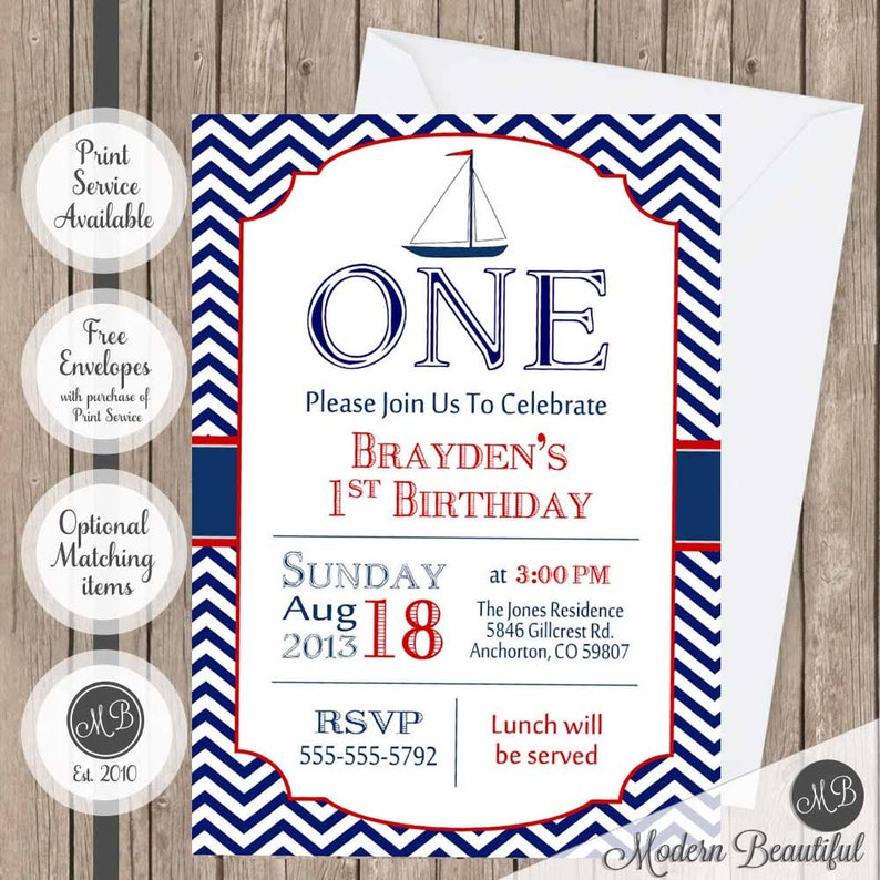 Chevron Nautical Birthday Invitation