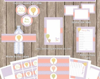Hot air balloon baby shower package, chevron baby shower, pink and purple baby shower, printable, (INSTANT DOWNLOAD) - balloon1