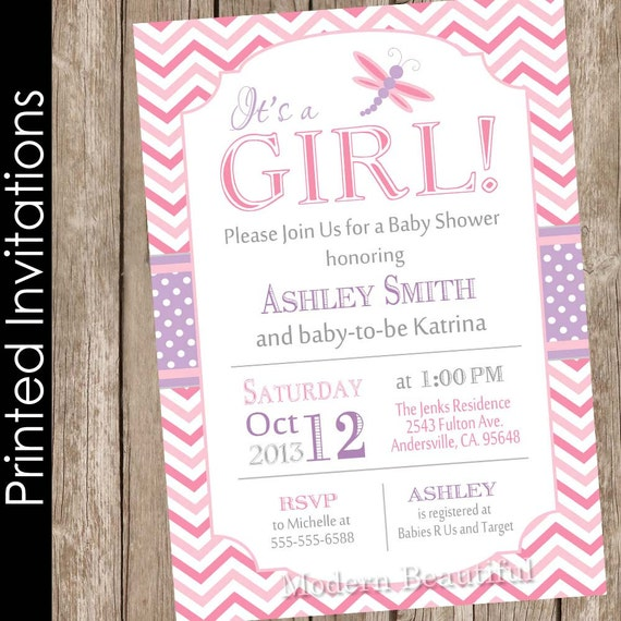 Printed dragonfly baby shower invitation pink and purple baby filmwisefo