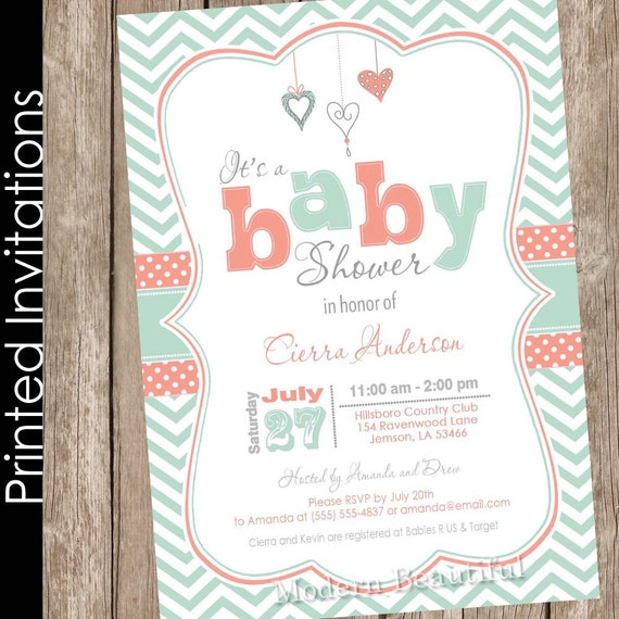 printed coral and mint spring baby shower invitation chevron