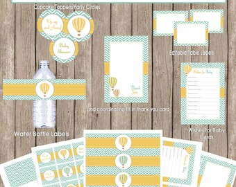 Hot air balloon baby shower package, chevron baby shower, teal, yellow baby shower, printable, (INSTANT DOWNLOAD) - balloon3