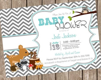 Woodland Forest Baby Shower Invitation, teal, gray, chevron, typography, printable invitation
