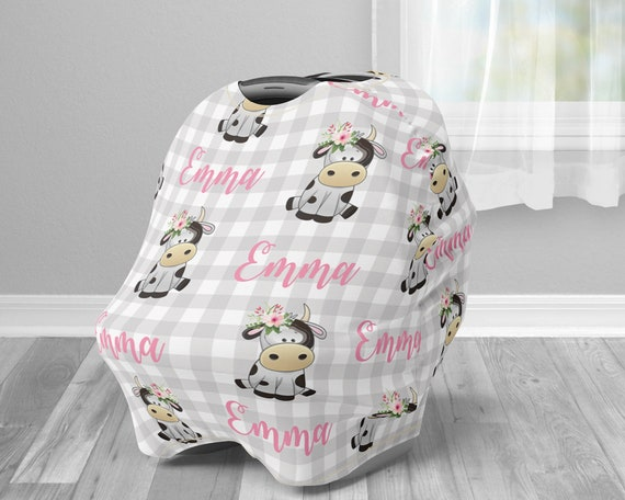 Farm Cow Floral Pink Car Seat Canopy Cover Girl Custom Infant Car